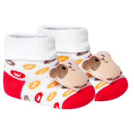 meias fun socks com pelucia de cachorro branco winston