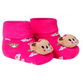 meias fun socks com pelucia de urso pink winston