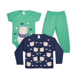 kit body bebe 3 pecas pagao urso cachecol verde e marinho lmol baby