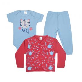 kit body bebe 3 pecas pagao tigre azul e vermelho lmol baby