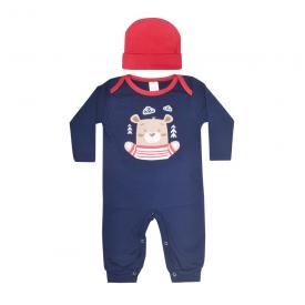 kit macacao bebe sem pe e touca urso marinho e vermelho lmol baby