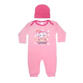 kit macacao bebe sem pe e touca coelinha rosa e pink lmol baby