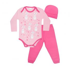kit bebe 3 pecas body calca e touca ilhama pink e rosa lmol baby