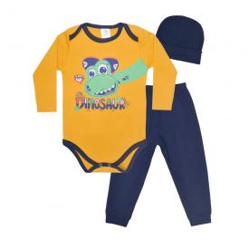 kit bebe 3 pecas body calca e touca dinossauro marinho e mostarda lmol baby
