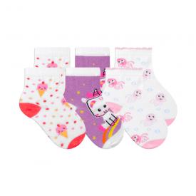 kit 3 meias fun socks unicornio lilas winston