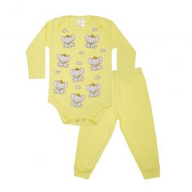 conjunto bebe body e calca pagao envelope elefante amarelo lmol baby