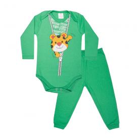 conjunto bebe body e calca pagao envelope little tiger verde lmol baby