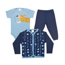 kit body bebe 3 pecas pagao roar marinho e azul lmol baby