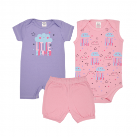 kit banho de sol bebe 3 pecas pagao little dreamer lilas e rosa lmol baby