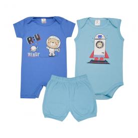 kit banho de sol bebe 3 pecas pagao astronauta royal e azul lmol baby