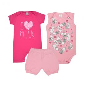 kit banho de sol bebe 3 pecas pagao milk pink e rosa lmol baby