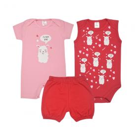 kit banho de sol bebe 3 pecas pagao ilhama vermelho e rosa lmol baby