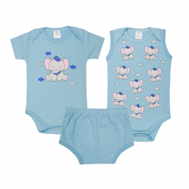 kit body bebe 3 pecas pagao elefante azul lmol baby