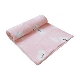 cobertor microfibra bebe flanelado nuvem rosa papi baby