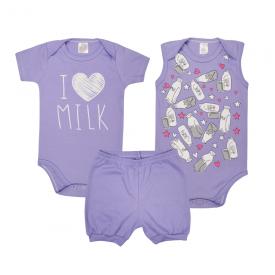 kit body bebe 3 pecas pagao milk lilas lmol baby