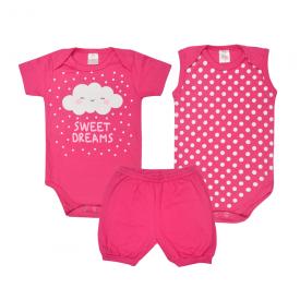kit body bebe 3 pecas pagao nuvem pink lmol baby