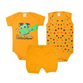 kit body bebe 3 pecas pagao dinossauro mostarda lmol baby