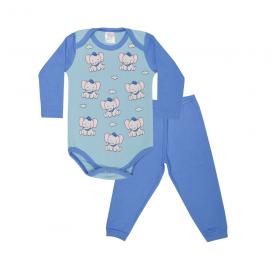 conjunto bebe body e calca pagao envelope elefante royal e azul lmol baby