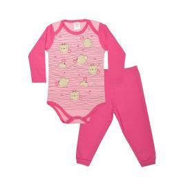 conjunto bebe body e calca pagao envelope urso coracao pink e rosa lmol baby
