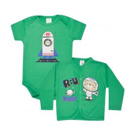 kit body bebe 2 pecas pagao astronauta verde lmol baby