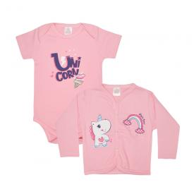 kit body bebe 2 pecas pagao unicornio rosa lmol baby