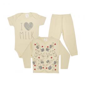 kit body bebe 3 pecas pagao milk perola dino kids