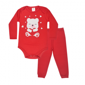 conjunto bebe body e calca pagao envelope urso vermelho lmol baby