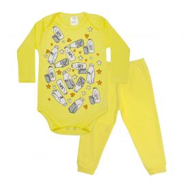 conjunto bebe body e calca pagao envelope milk amarelo lmol baby