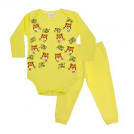 conjunto bebe body e calca pagao envelope tigre amarelo lmol baby