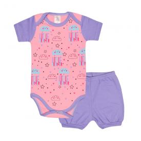 conjunto bebe body e shorts pagao envelope little dreamer lilas e rosa lmol baby