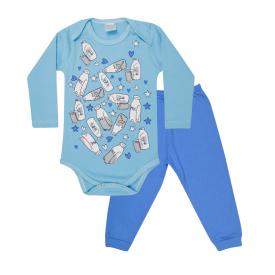 conjunto bebe body e calca pagao envelope milk azul e royal lmol baby