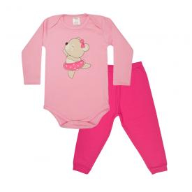 conjunto bebe body e calca pagao envelope bailarina rosa e pink lmol baby