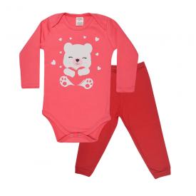 conjunto bebe body e calca pagao envelope urso coral e vermelho lmol baby