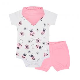 kit bebe 3 pecas body shorts e bandana joaninha rosa lmol baby