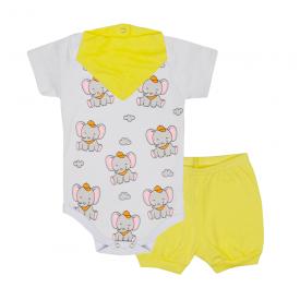 kit bebe 3 pecas body shorts e bandana elefante amarelo lmol baby