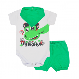 kit bebe 3 pecas body shorts e bandana dinossauro verde lmol baby