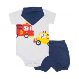 kit bebe 3 pecas body shorts e bandana bombeiro marinho lmol baby