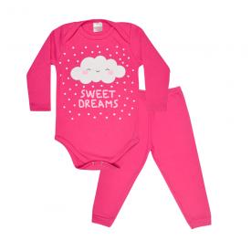 conjunto bebe body e calca pagao envelope nuvem pink lmol baby