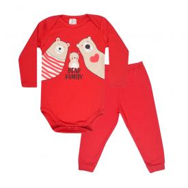 conjunto bebe body e calca pagao envelope bear family vermelho lmol baby