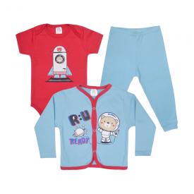 kit body bebe 3 pecas pagao astronauta azul e vermelho lmol baby