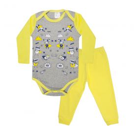 conjunto bebe body e calca pagao envelope super power mescla e amarelo lmol baby