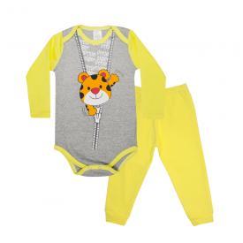 conjunto bebe body e calca pagao envelope tigre mescla e amarelo lmol baby