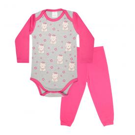 conjunto bebe body e calca pagao envelope urso flores mescla e pink lmol baby