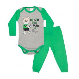 conjunto bebe body e calca pagao envelope player mescla e verde bandeira lmol baby
