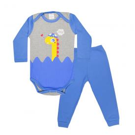conjunto bebe body e calca pagao envelope dinossauro mescla e royal lmol baby