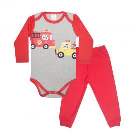conjunto bebe body e calca pagao envelope bombeiros mescla e vermelho lmol baby