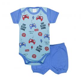 conjunto bebe body e shorts pagao envelope games royal e azul lmol baby