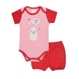 conjunto bebe body e shorts pagao envelope ilhama vermelho e rosa lmol baby