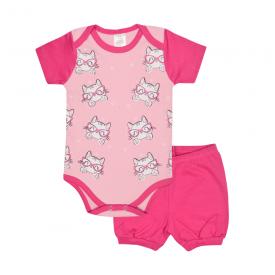 conjunto bebe body e shorts pagao envelope gatinha pink e rosa lmol baby