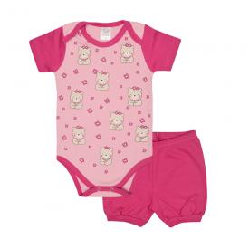 conjunto bebe body e shorts pagao envelope urso flores pink e rosa lmol baby